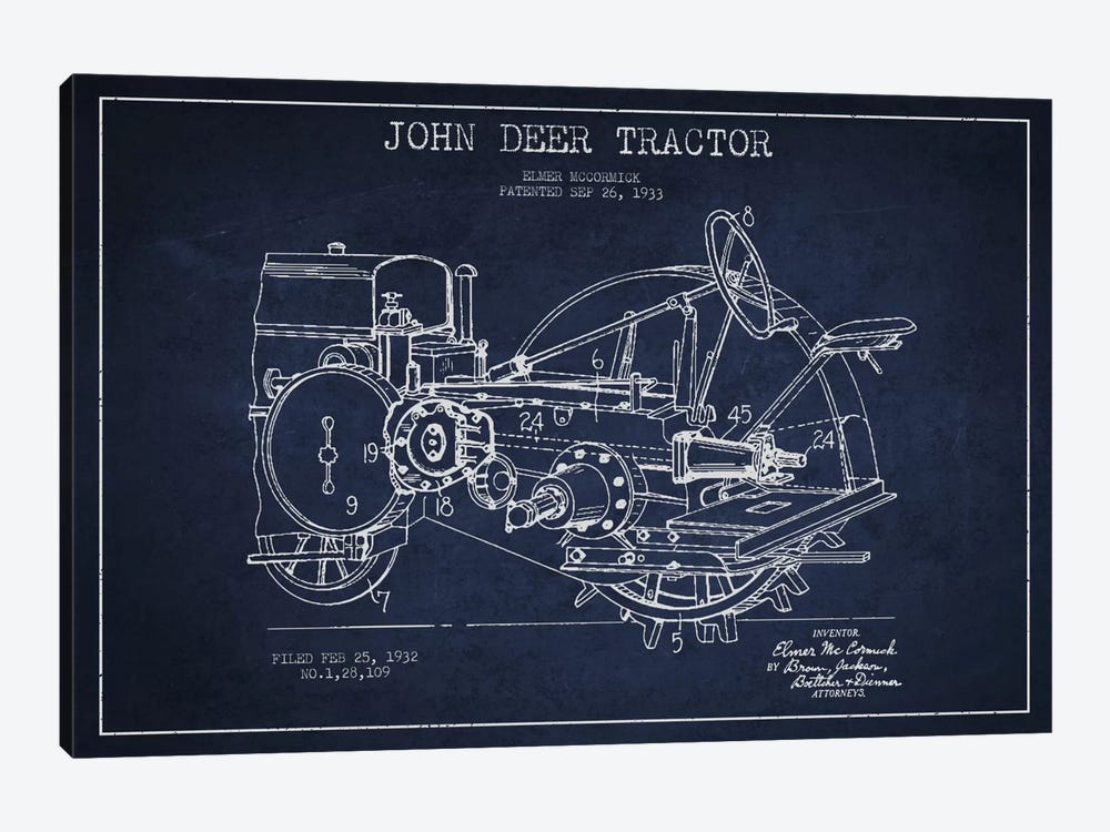 John Deer Navy Blue Patent Blueprint by Aged Pixel 1-piece Canvas Wall Art