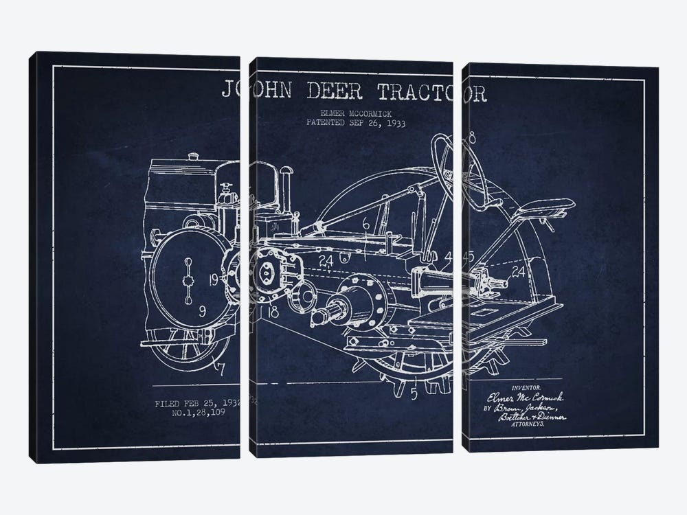 John Deer Navy Blue Patent Blueprint by Aged Pixel 3-piece Canvas Artwork