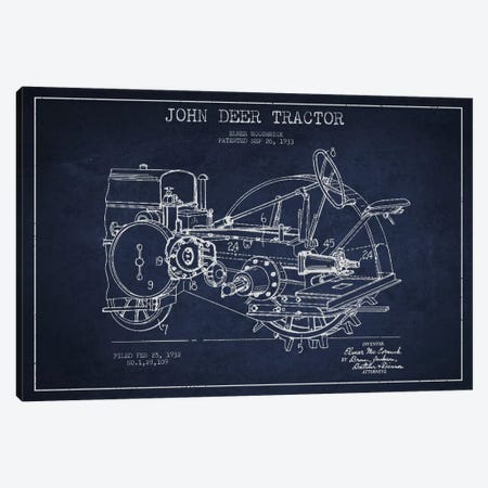 John Deer Navy Blue Patent Blueprint Canvas Print #ADP641} by Aged Pixel Canvas Art Print