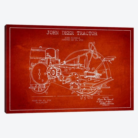 John Deer Red Patent Blueprint Canvas Print #ADP642} by Aged Pixel Canvas Art Print