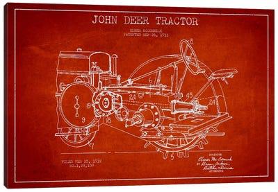John Deer Red Patent Blueprint Canvas Print #ADP642