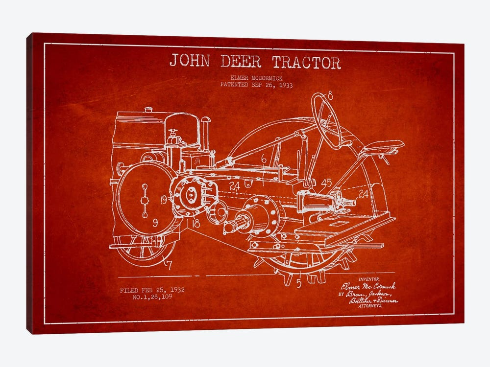 John Deer Red Patent Blueprint by Aged Pixel 1-piece Canvas Print
