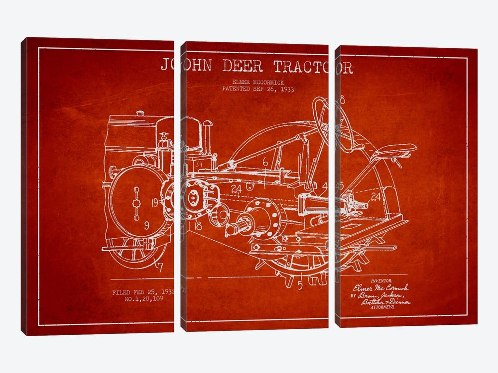 John Deer Red Patent Blueprint by Aged Pixel 3-piece Canvas Art Print