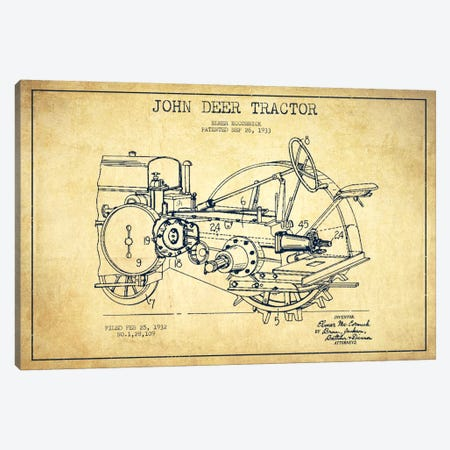John Deer Vintage Patent Blueprint Canvas Print #ADP643} by Aged Pixel Canvas Art Print