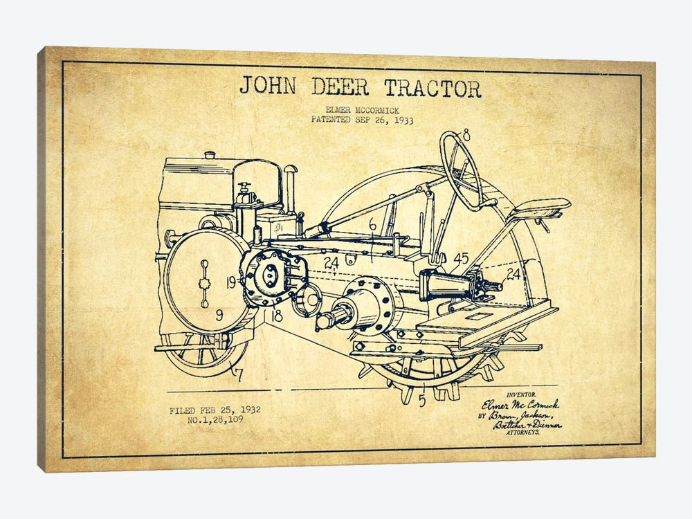 John Deer Vintage Patent Blueprint by Aged Pixel 1-piece Canvas Wall Art