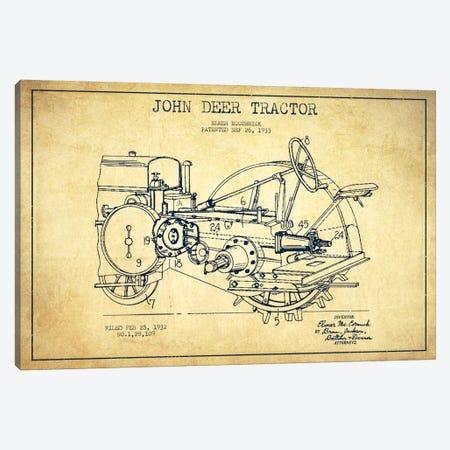 John Deer Vintage Patent Blueprint Canvas Print #ADP643} by Aged Pixel Canvas Art Print