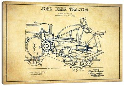 John Deer Vintage Patent Blueprint Canvas Art Print