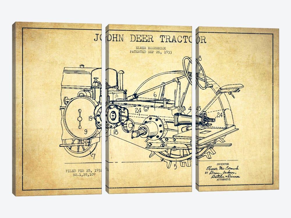 John Deer Vintage Patent Blueprint by Aged Pixel 3-piece Canvas Wall Art