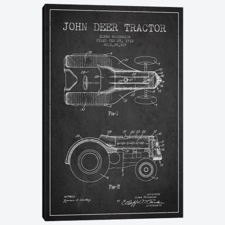 John Deer 2 Charcoal Patent Blueprint Canvas Print #ADP644} by Aged Pixel Canvas Wall Art
