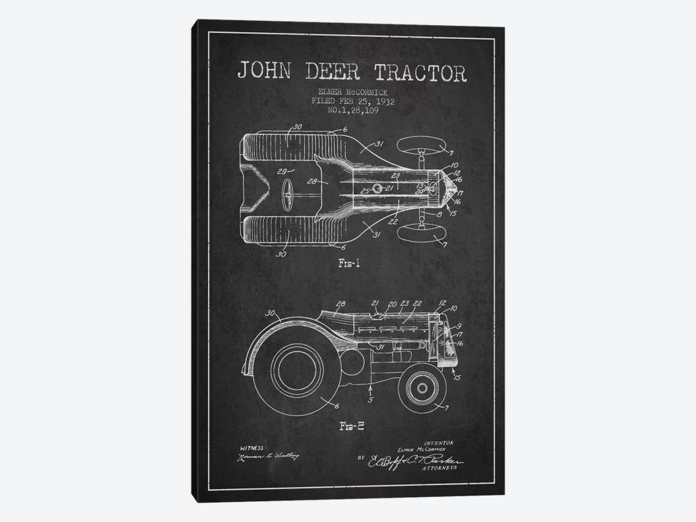 John Deer 2 Charcoal Patent Blueprint by Aged Pixel 1-piece Canvas Print