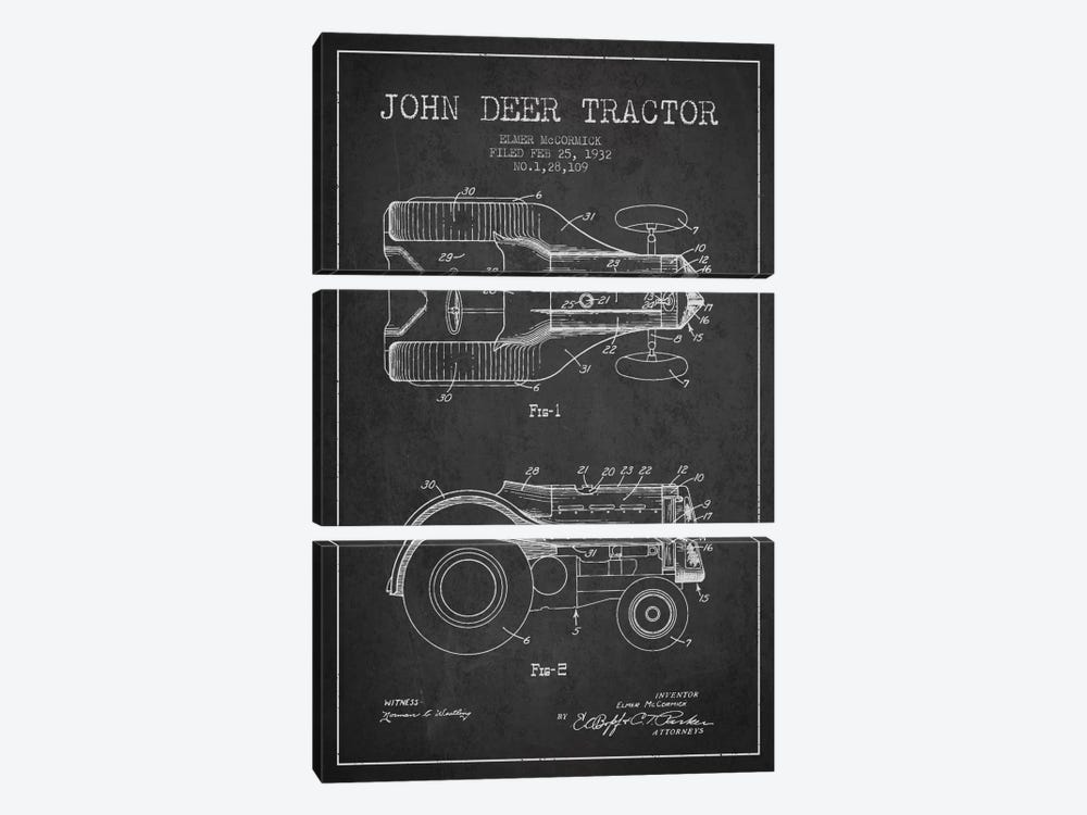 John Deer 2 Charcoal Patent Blueprint by Aged Pixel 3-piece Art Print