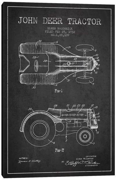 John Deer 2 Charcoal Patent Blueprint Canvas Art Print