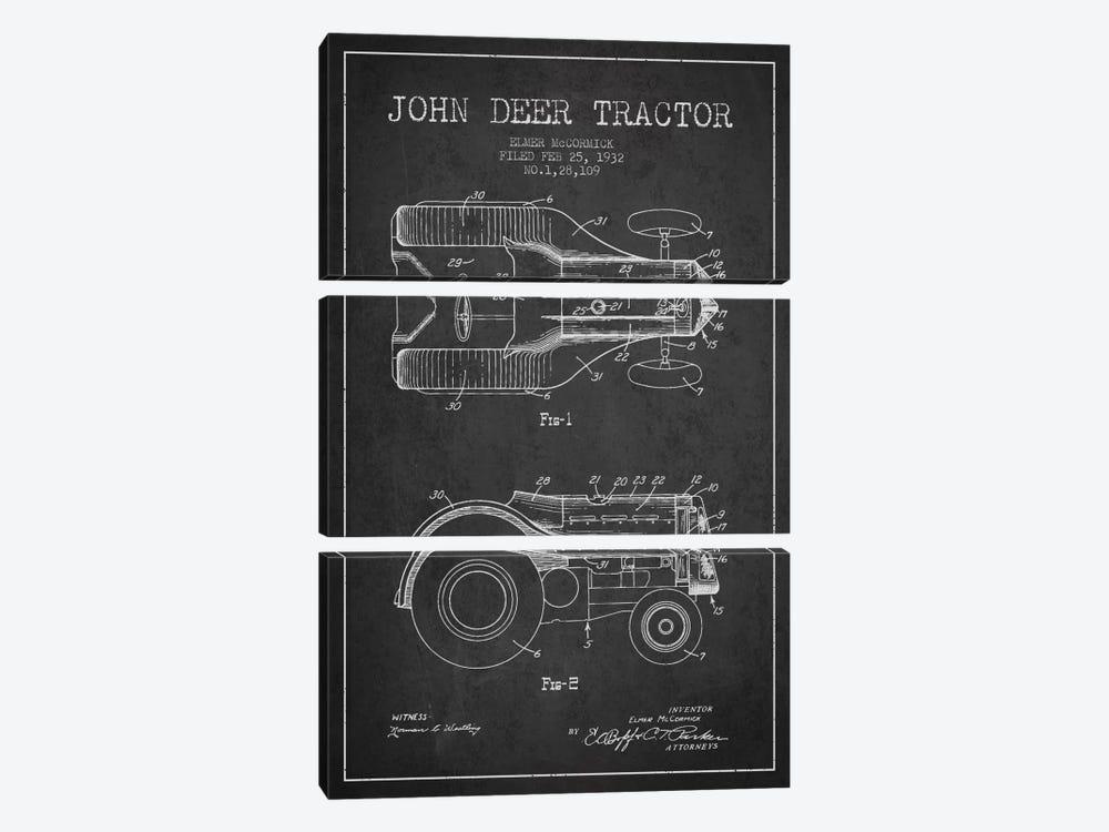 John Deer 2 Charcoal Patent Blueprint by Aged Pixel 3-piece Art Print