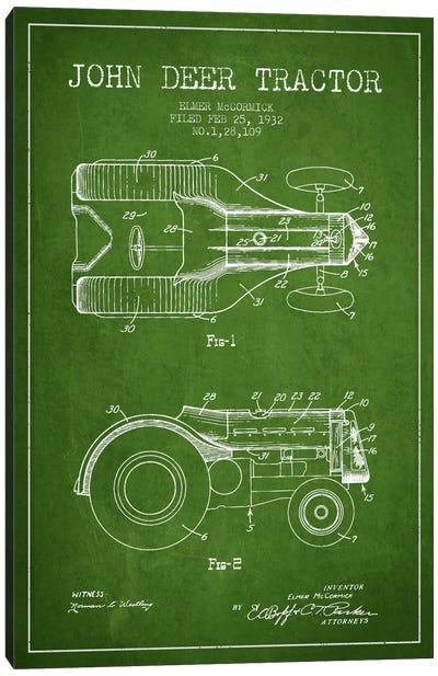 John Deer Green Patent Blueprint Canvas Print #ADP645