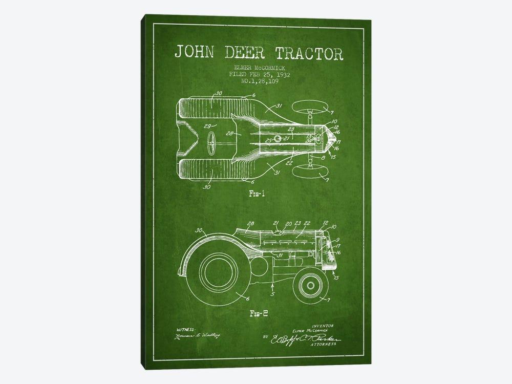 John Deer Green Patent Blueprint by Aged Pixel 1-piece Canvas Wall Art