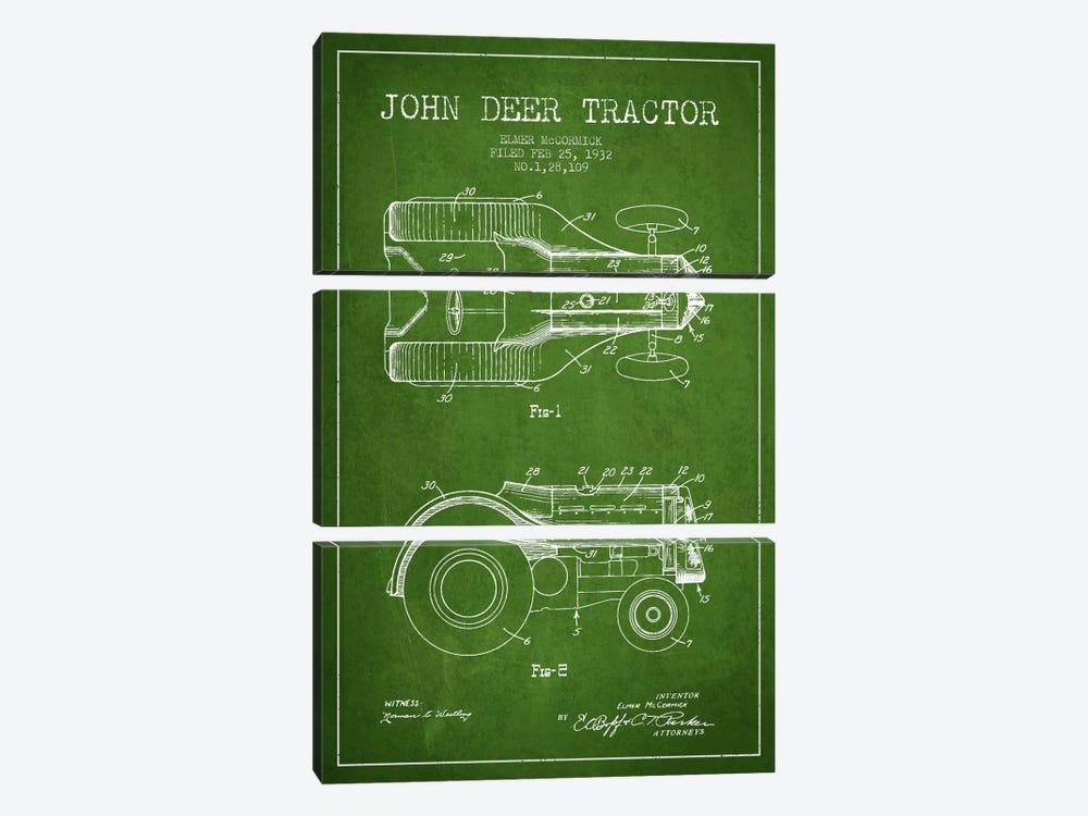 John Deer Green Patent Blueprint by Aged Pixel 3-piece Canvas Art
