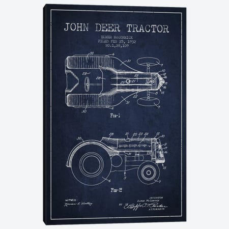 John Deer 2 Navy Blue Patent Blueprint Canvas Print #ADP646} by Aged Pixel Canvas Wall Art