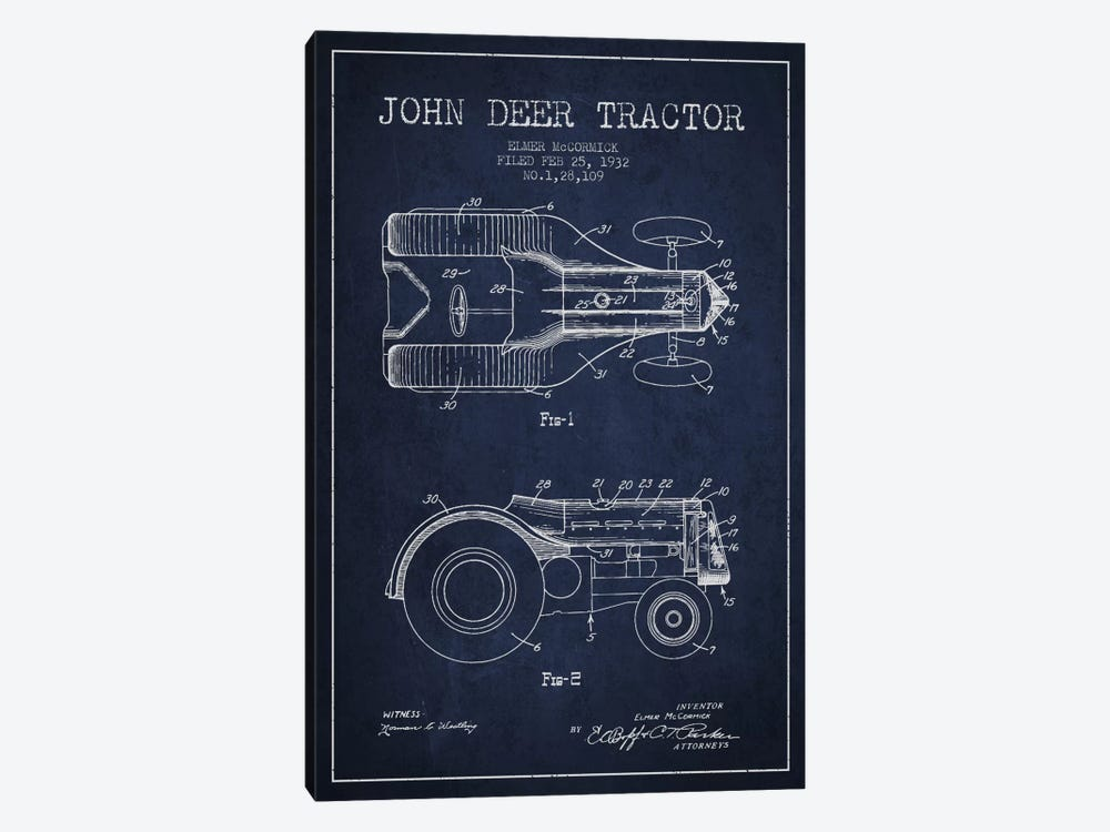 John Deer 2 Navy Blue Patent Blueprint by Aged Pixel 1-piece Canvas Art Print