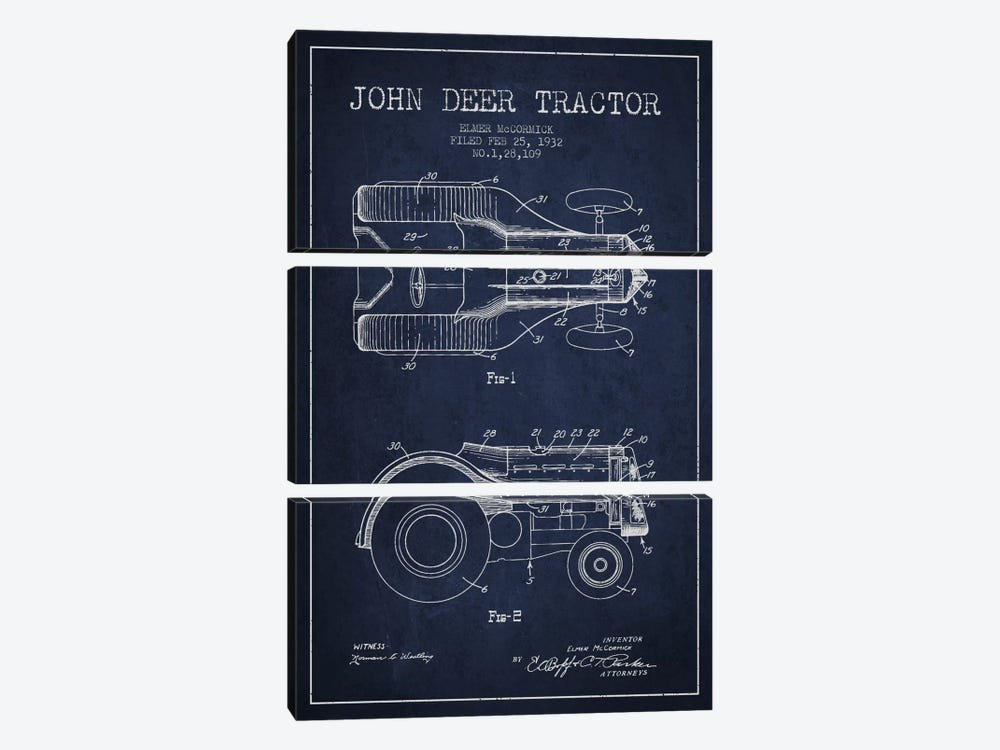 John Deer 2 Navy Blue Patent Blueprint by Aged Pixel 3-piece Canvas Print