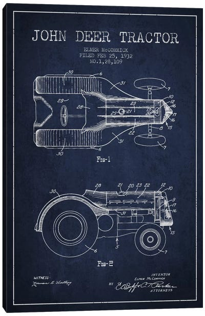 John Deer 2 Navy Blue Patent Blueprint Canvas Art Print
