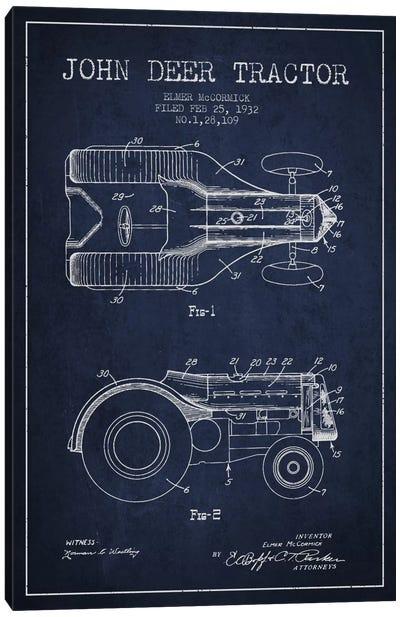 John Deer 2 Navy Blue Patent Blueprint Canvas Art Print