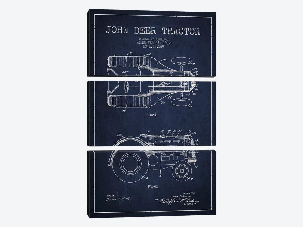John Deer 2 Navy Blue Patent Blueprint by Aged Pixel 3-piece Canvas Print