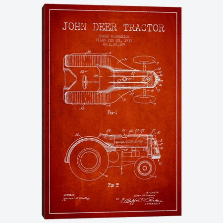 John Deer Red Patent Blueprint Canvas Print #ADP647} by Aged Pixel Canvas Wall Art