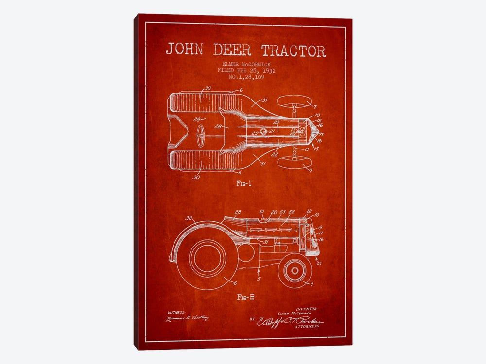 John Deer Red Patent Blueprint by Aged Pixel 1-piece Canvas Art