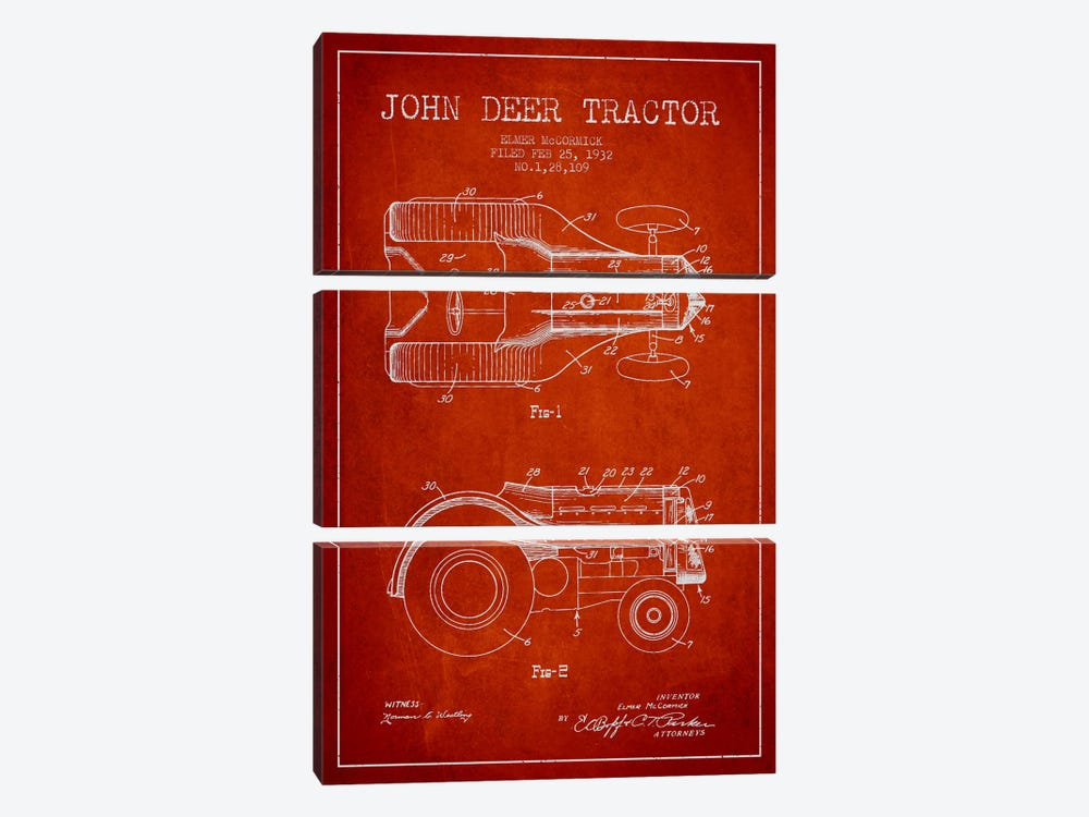 John Deer Red Patent Blueprint by Aged Pixel 3-piece Canvas Artwork