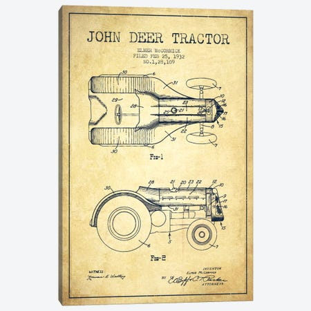 John Deer Vintage Patent Blueprint Canvas Print #ADP648} by Aged Pixel Art Print