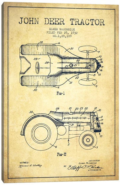 John Deer Vintage Patent Blueprint Canvas Print #ADP648