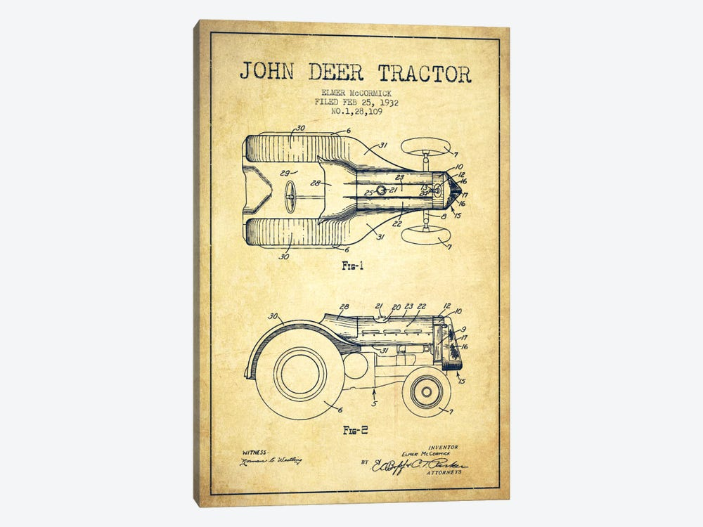 John Deer Vintage Patent Blueprint by Aged Pixel 1-piece Art Print