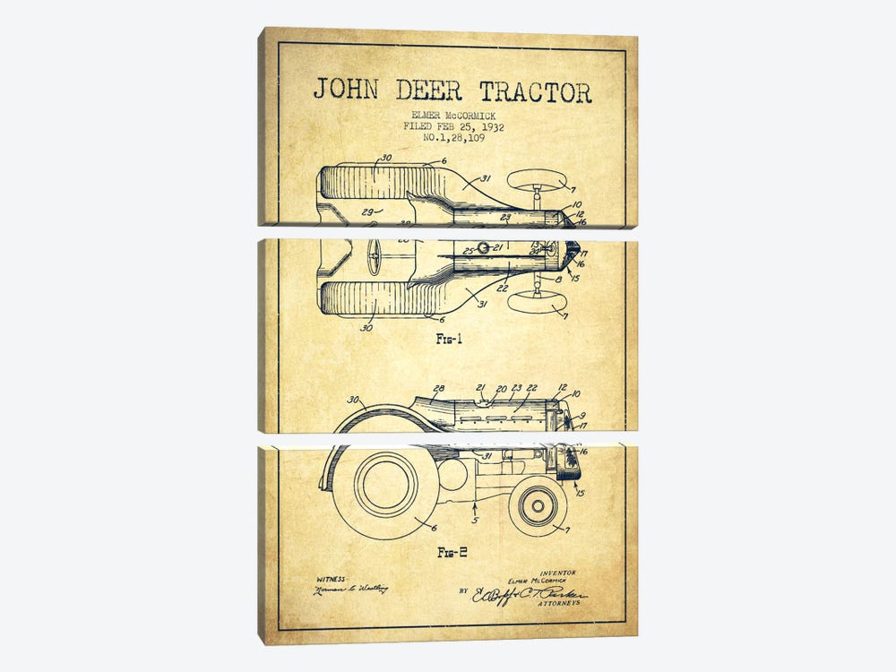 John Deer Vintage Patent Blueprint by Aged Pixel 3-piece Art Print