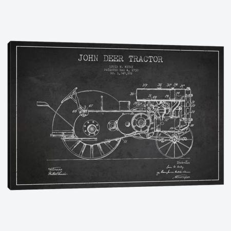 John Deer 3 Charcoal Patent Blueprint Canvas Print #ADP649} by Aged Pixel Canvas Print