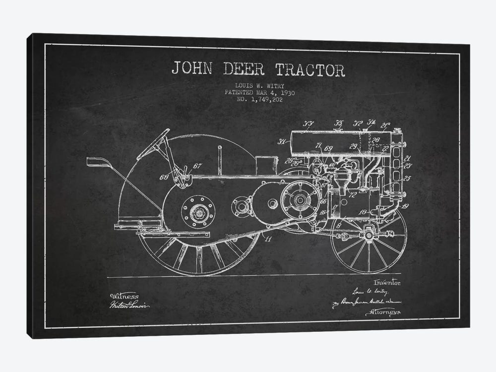 John Deer 3 Charcoal Patent Blueprint 1-piece Canvas Artwork