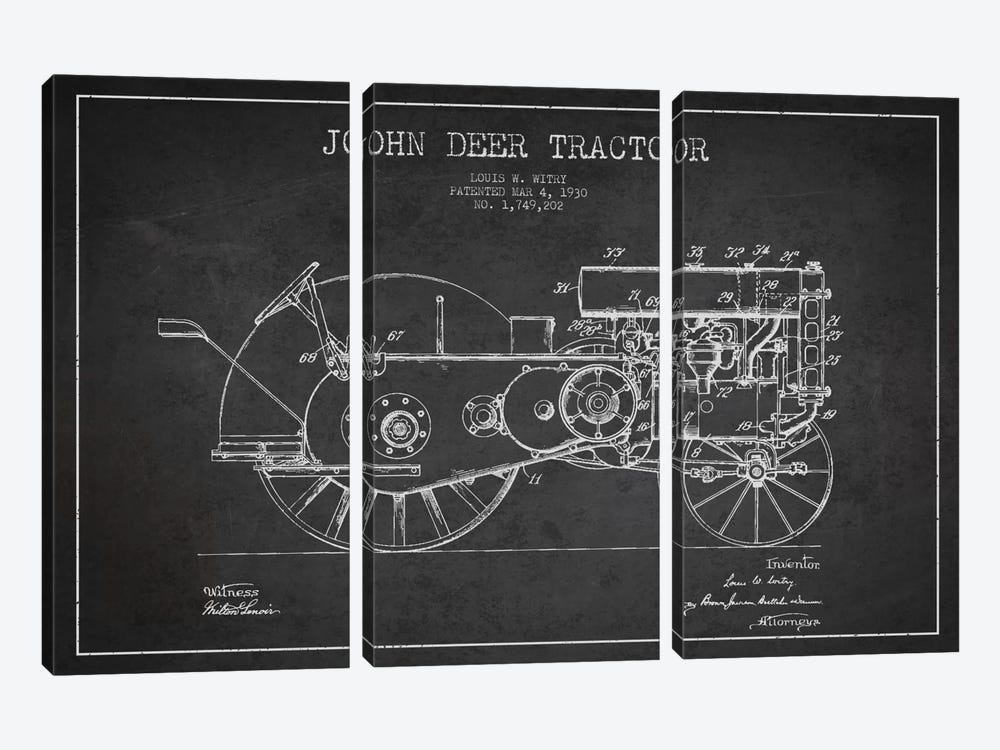 John Deer 3 Charcoal Patent Blueprint by Aged Pixel 3-piece Canvas Art