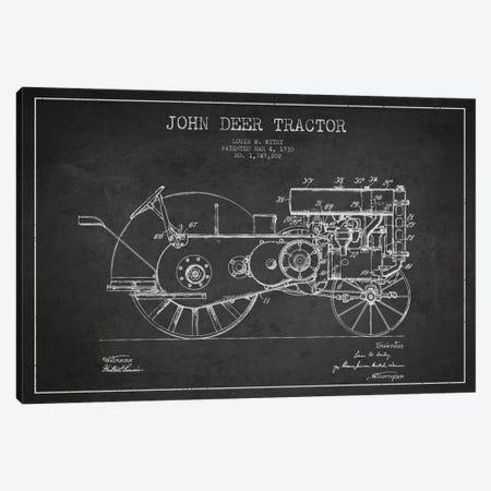 John Deer 3 Charcoal Patent Blueprint Canvas Print #ADP649} by Aged Pixel Canvas Print