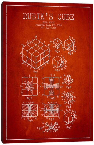 Rubik Red Patent Blueprint Canvas Art Print