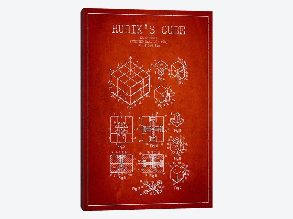 Rubik Red Patent Blueprint by Aged Pixel 1-piece Canvas Art Print