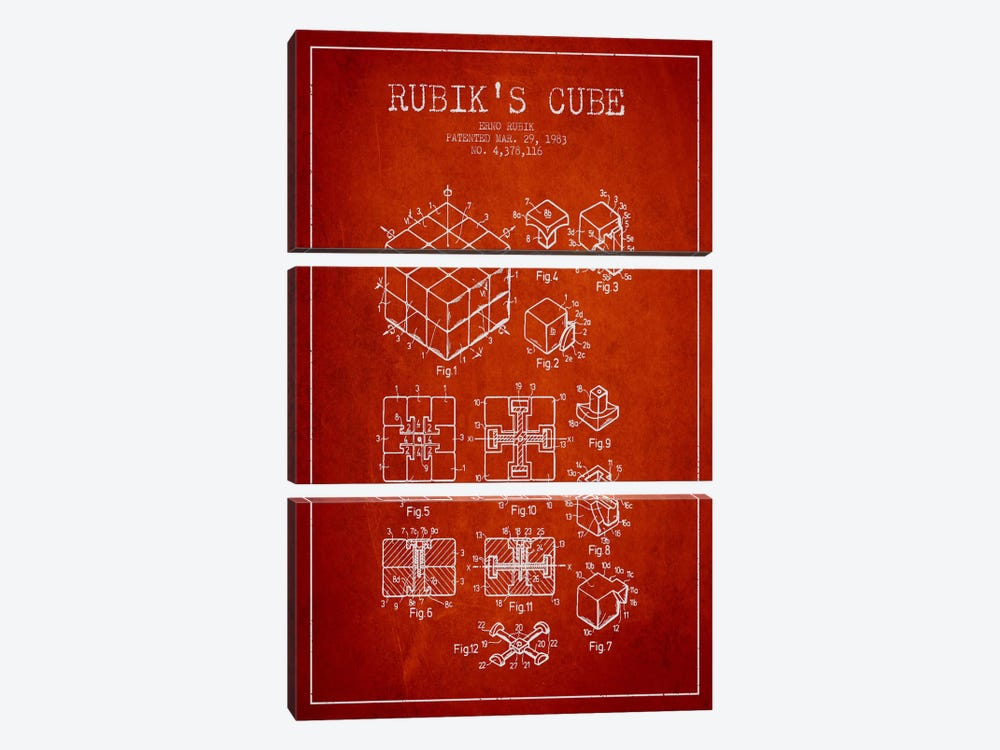 Rubik Red Patent Blueprint by Aged Pixel 3-piece Canvas Art Print