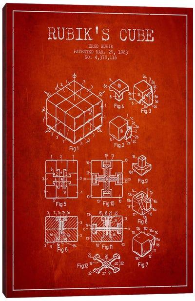 Rubik Red Patent Blueprint Canvas Art Print