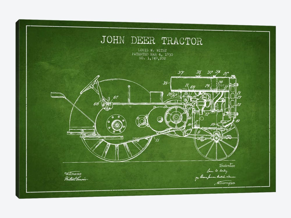 John Deer Green Patent Blueprint by Aged Pixel 1-piece Canvas Artwork
