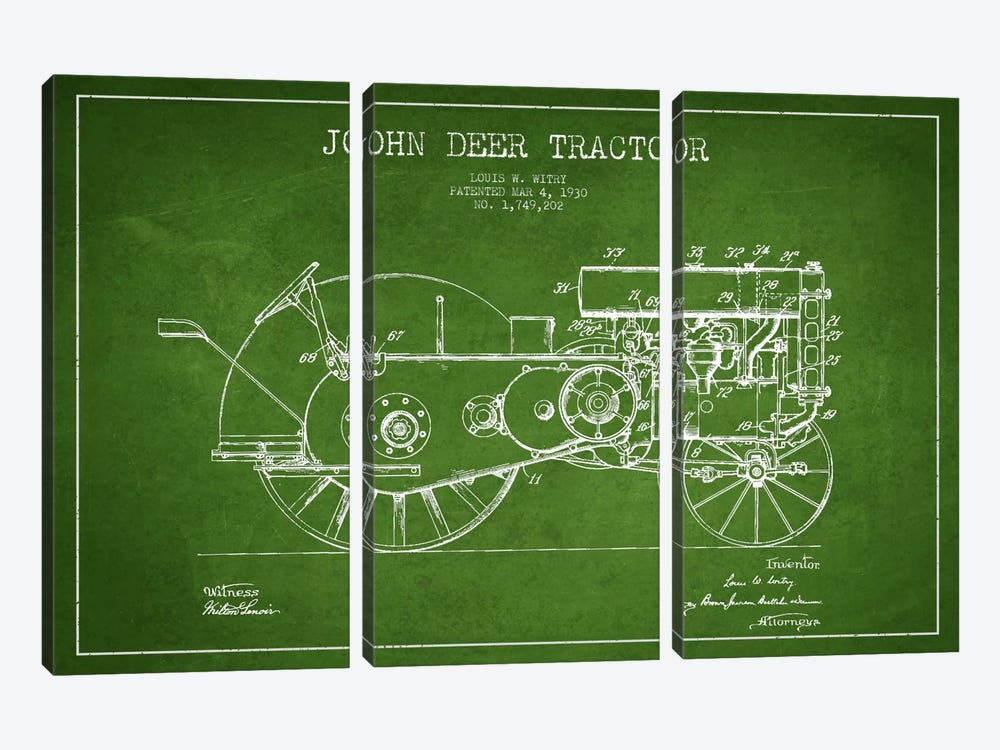 John Deer Green Patent Blueprint by Aged Pixel 3-piece Canvas Art