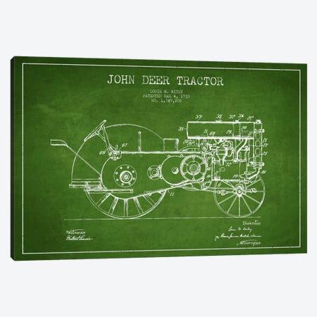 John Deer Green Patent Blueprint Canvas Print #ADP650} by Aged Pixel Canvas Artwork