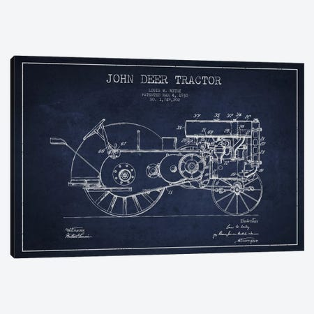 John Deer 3 Navy Blue Patent Blueprint Canvas Print #ADP651} by Aged Pixel Canvas Art