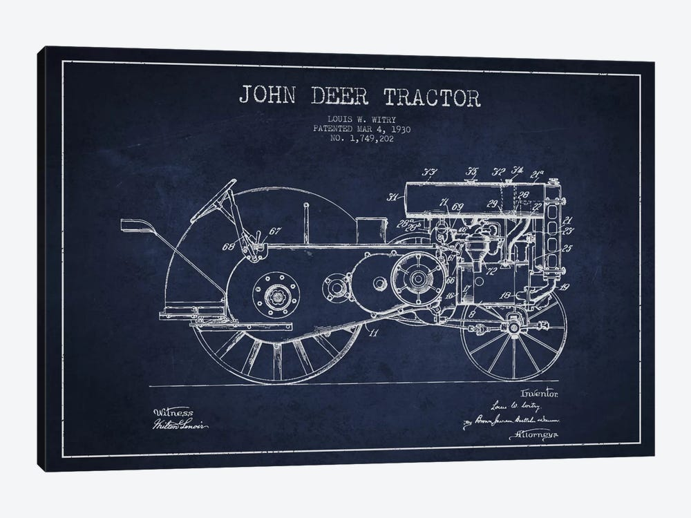 John Deer 3 Navy Blue Patent Blueprint by Aged Pixel 1-piece Art Print