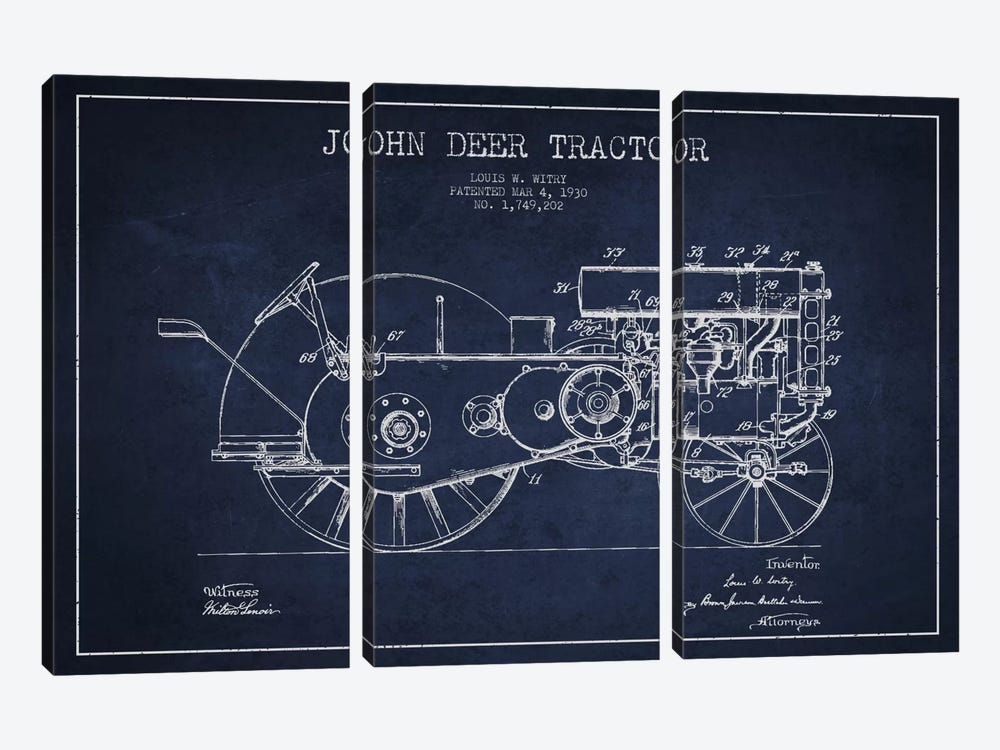 John Deer 3 Navy Blue Patent Blueprint by Aged Pixel 3-piece Canvas Print