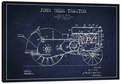 John Deer 3 Navy Blue Patent Blueprint Canvas Art Print