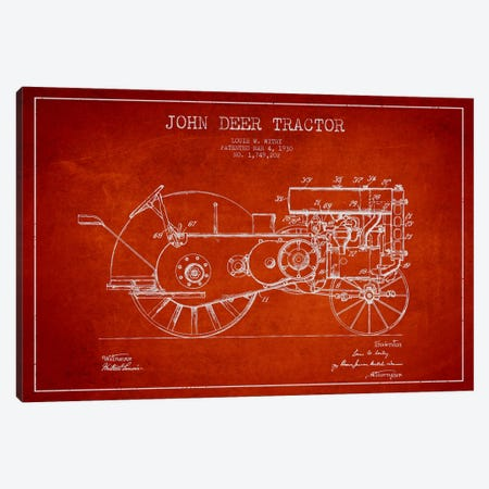 John Deer Red Patent Blueprint Canvas Print #ADP652} by Aged Pixel Canvas Wall Art
