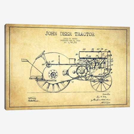 John Deer Vintage Patent Blueprint Canvas Print #ADP653} by Aged Pixel Canvas Art